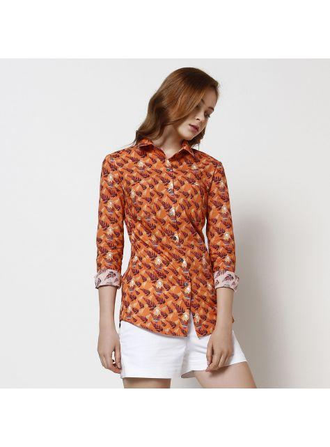 橘色羊印花襯衫