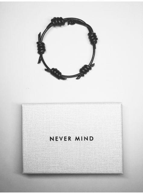 NEVER MIND 植鞣牛皮手環-THORNs-黑色