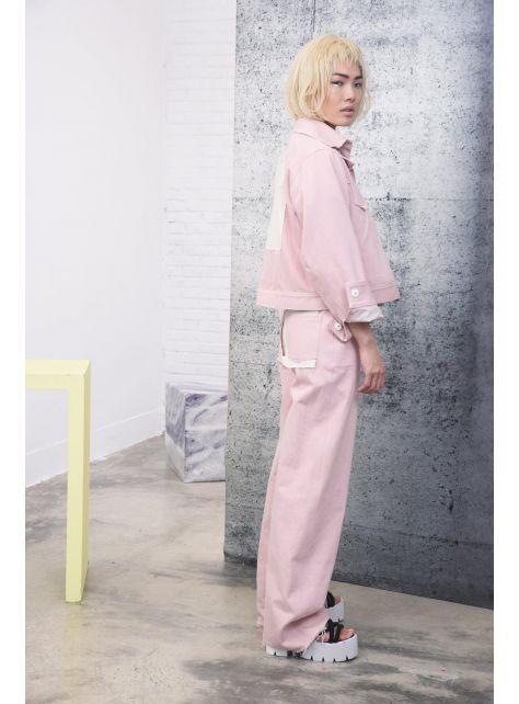 粉紅牛仔拼布外套