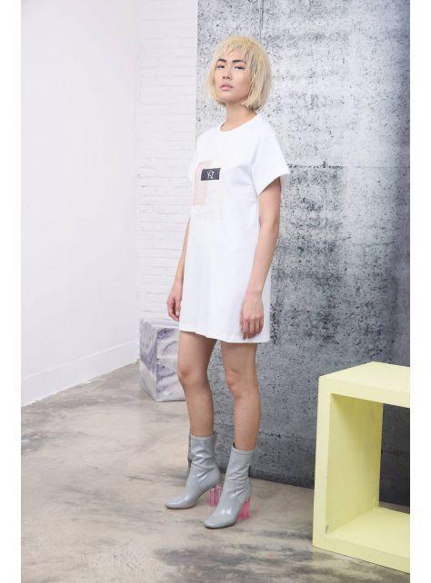 牛皮紙Y-Z衣標印花長版T-SHIRT
