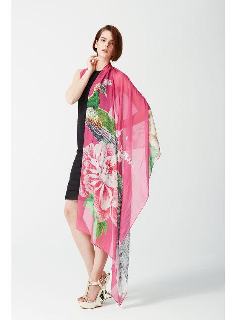 Peacock Roost - 雪紡絲印花絲巾