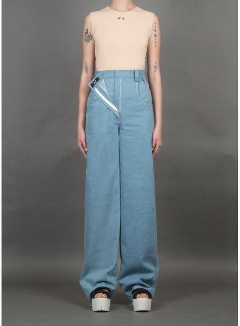 淺藍裝飾拉鍊牛仔褲