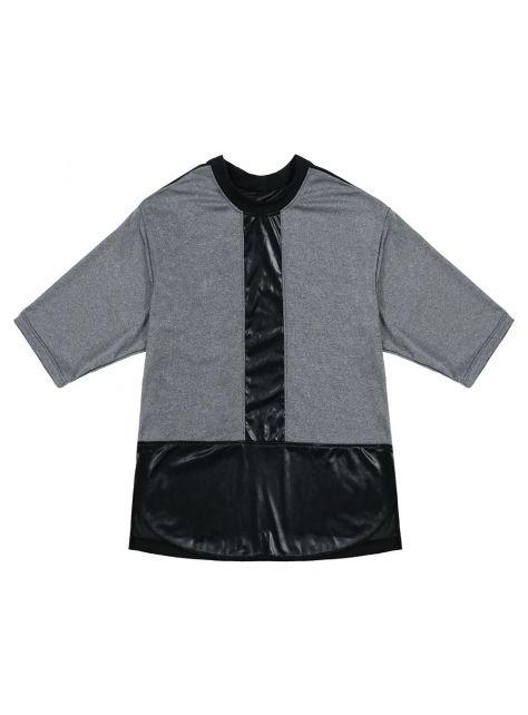 壓光黑灰拼色上衣
