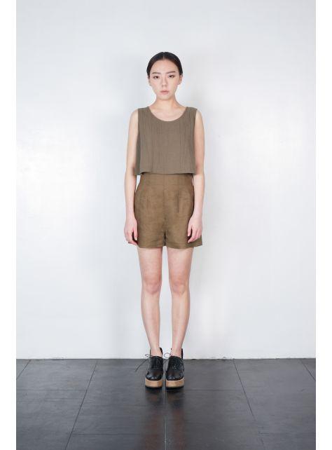高腰壓線短褲