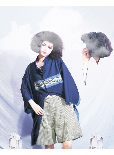 半寶石『灰白線條褲裙』