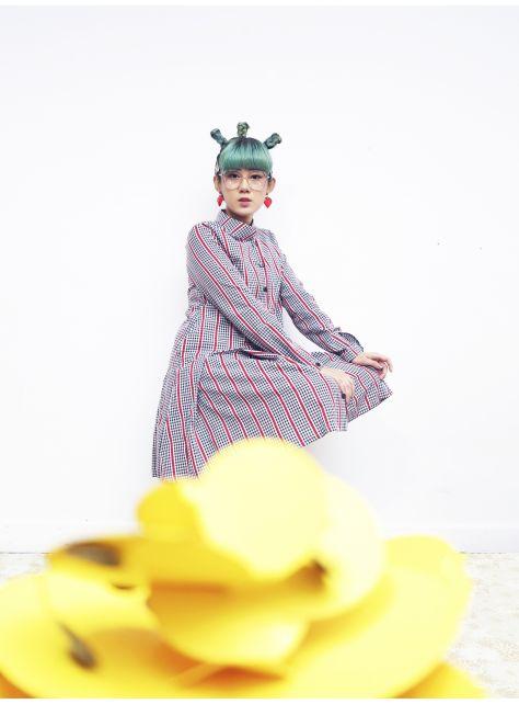 瘋狂茶會『紅條紋公爵襯衫洋裝』