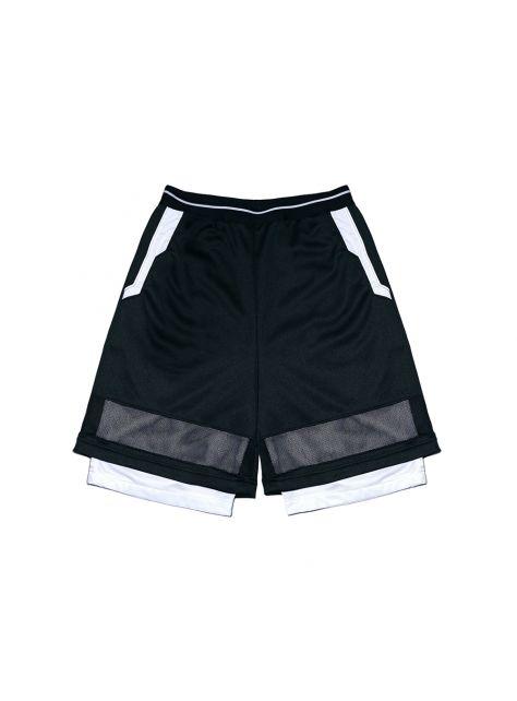 動力黑網布短褲