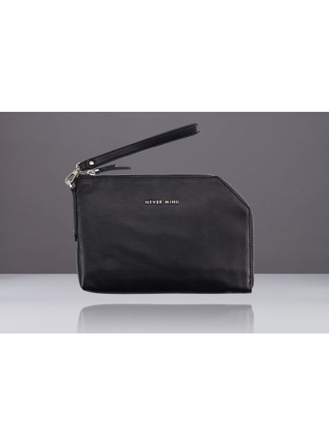 NEVER MIND-iPad mini 個性手拿包-羊皮-RIA-黑色-新年