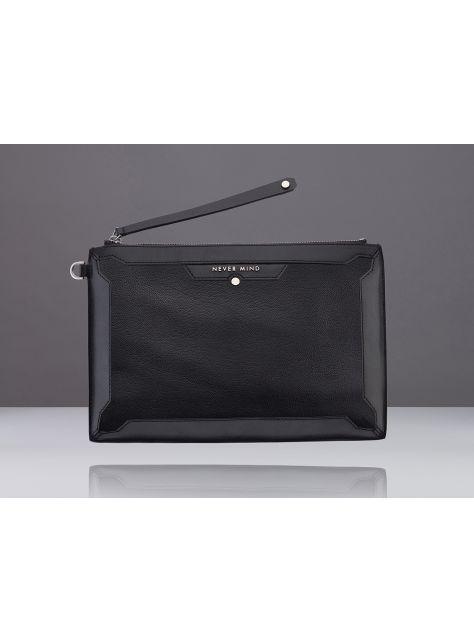 NEVER MIND-iPad潮流手拿包-牛皮+羊皮-DIA-時尚黑-新年