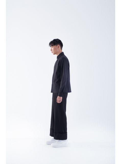 反折寬鬆8分褲