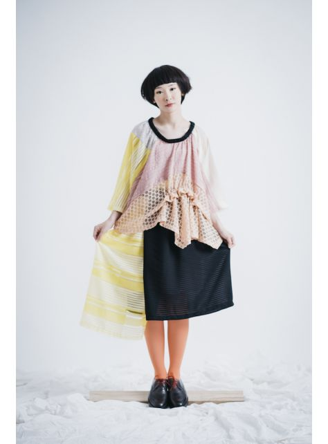 moi non plus 黃黑熱帶魚雙色裙