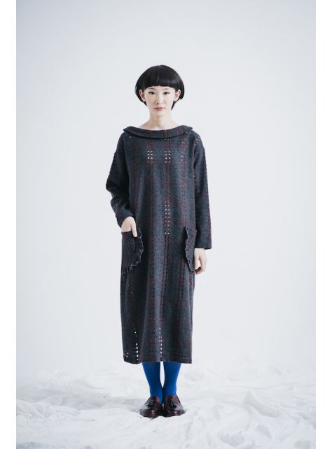 moi non plus 灰色熱帶魚毛料洋裝