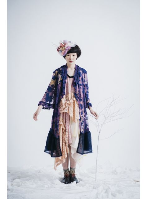 moi non plus 紫花珊瑚長罩衫