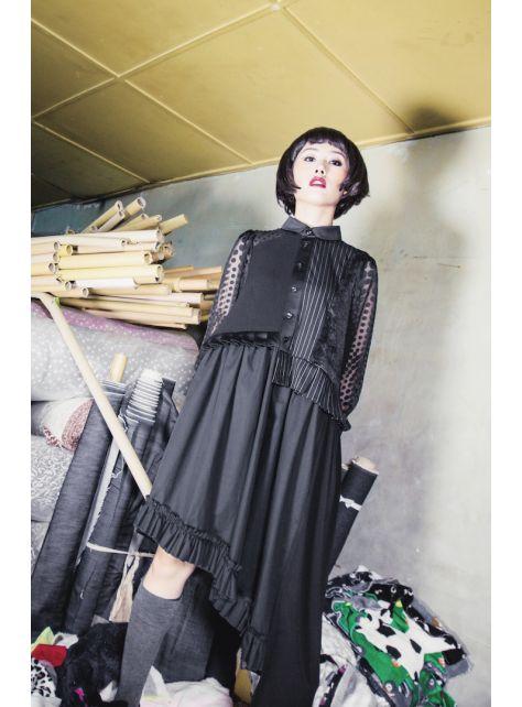 moi non plus 圓領黑色拼接洋裝
