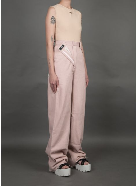 粉紅裝飾拉鍊牛仔褲