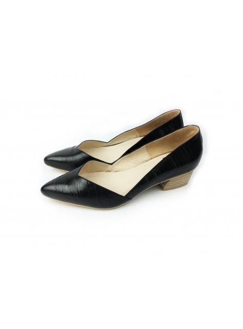 CLAVE [經典女孩系列] BECKY / Morning Glory - 黑色真皮 - 菱形開口尖頭低跟鞋