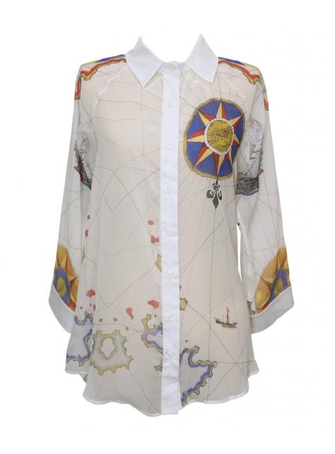 新世界系列印花絲質襯衫