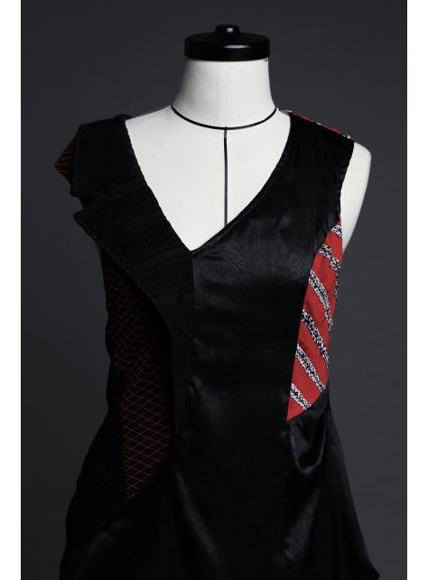 解構洋裝 (黑/紅)