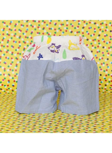 藍色拚布短褲