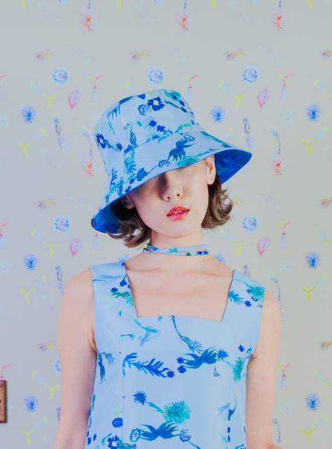 藍花園雙面印花帽