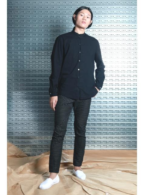呂- 中式立領襯衫 ( 黑 )
