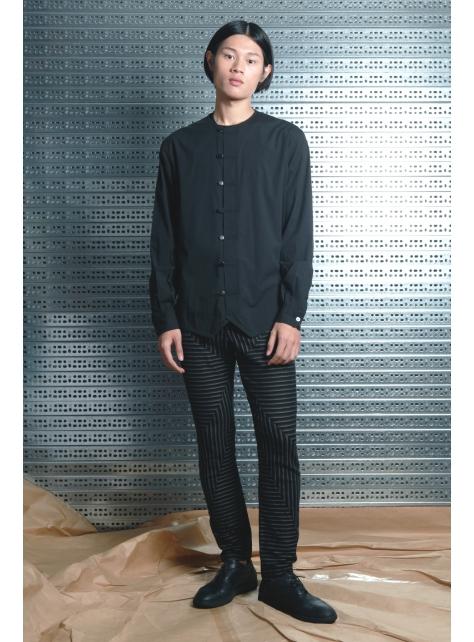 呂- 簡約中式襯衫 ( 黑 )