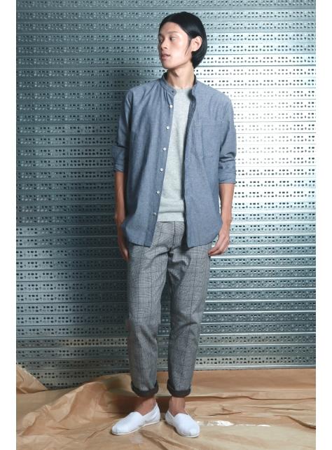 呂- 立領簡約襯衫 ( 灰 )