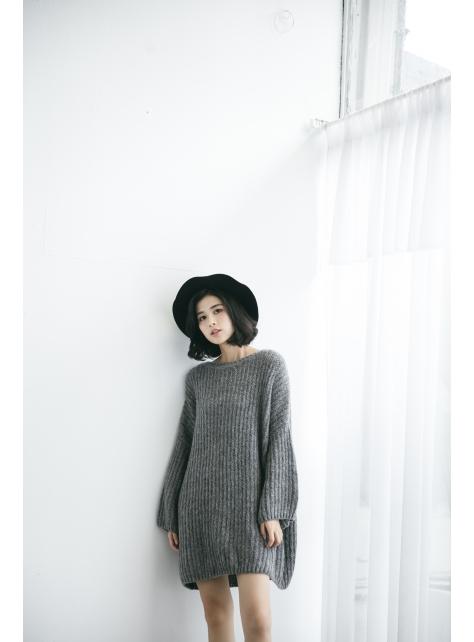 粗針織長版洋裝
