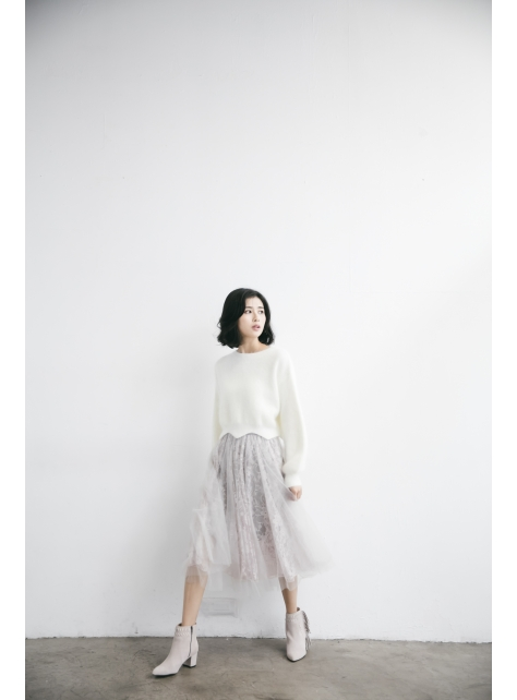蕾絲印花紗裙