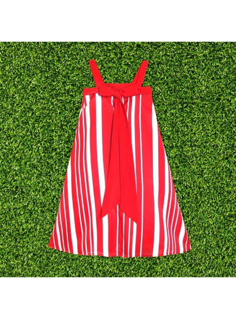 大紅蝴蝶條紋洋裝 RED BUTTERFLY STRIPE DRESS
