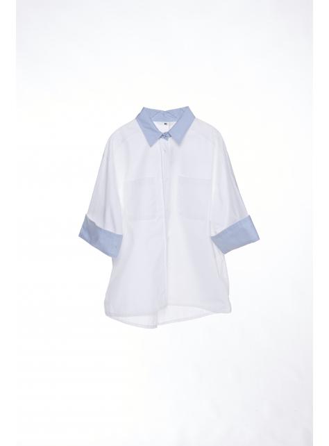 撞色棉質七分袖襯衫