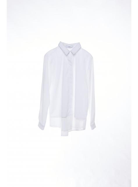多層次雪紡白襯衫