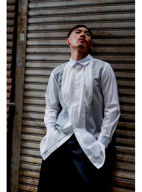 西裝料拼接襯衫(162T01)