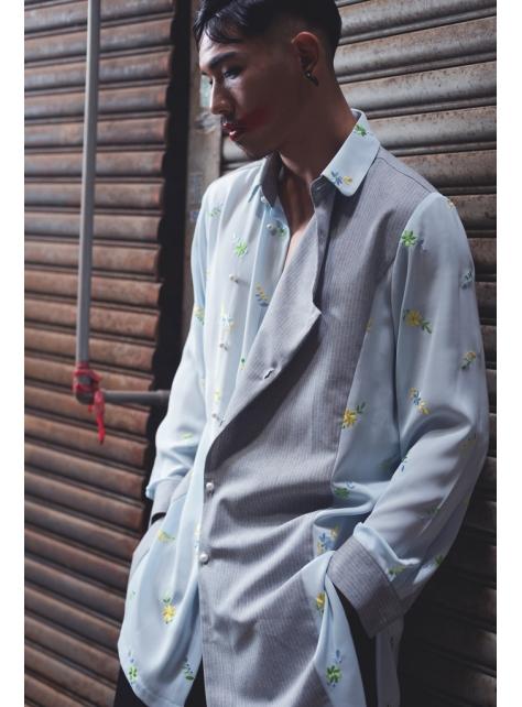 不對稱正裝剪裁繡花長版襯衫(162T06)