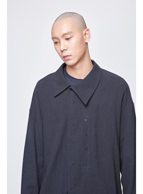 不對稱翻領外套