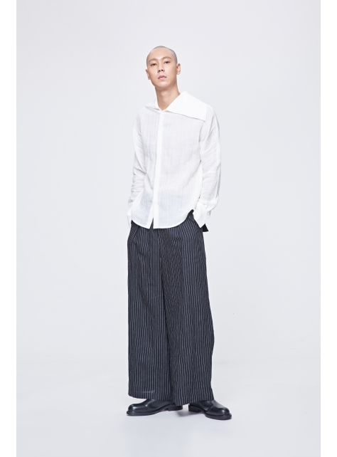 After wide linen pants low