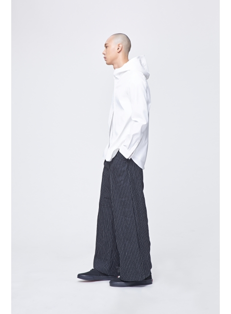 麻質後低檔寬褲