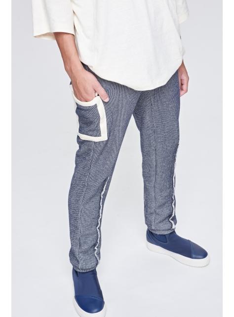 厚針織剪接褲