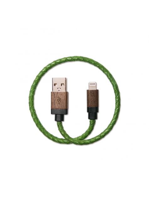 Leather Braided Lightning to USB Cable – Green / Hickory