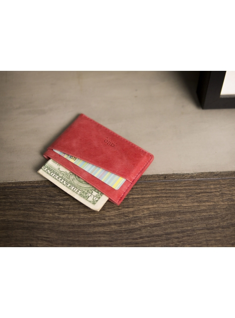 Leather Slim Card Holder – Coral