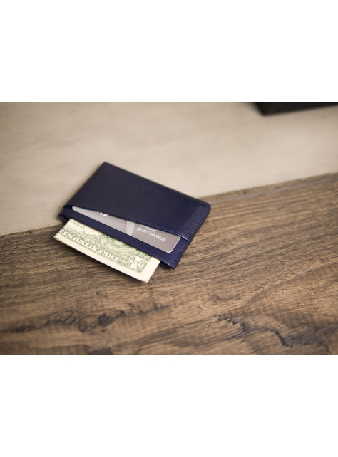 Leather Slim Card Holder – Navy