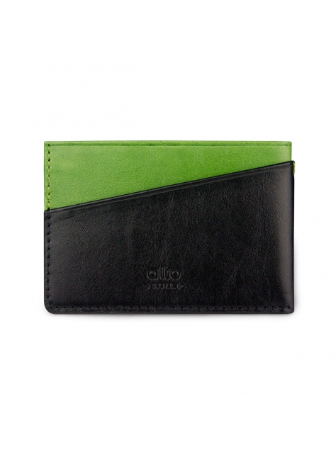Leather Slim Card Holder – Lemon/Raven