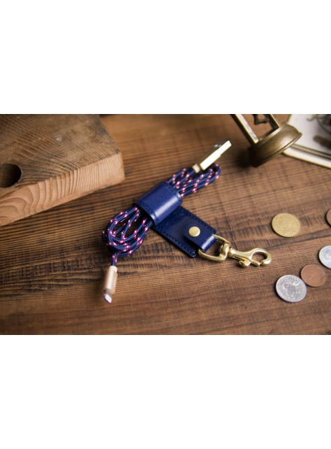 Leather Keychain Stand – Navy