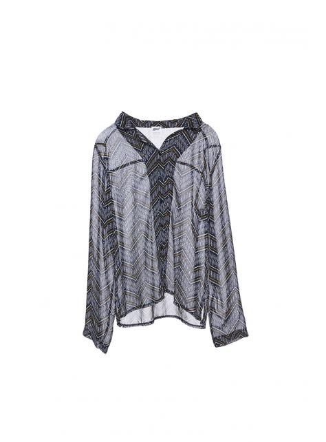 圖騰幾何雪紡絲襯衫