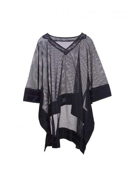 韓國時裝設計師挺版微透前短後長上衣
