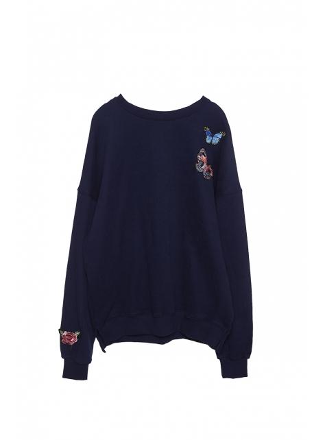 蝴蝶刺繡棉質上衣
