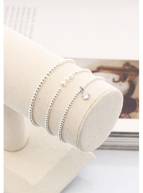 優雅皇冠水鑽吊墜925純銀珠珠手鍊