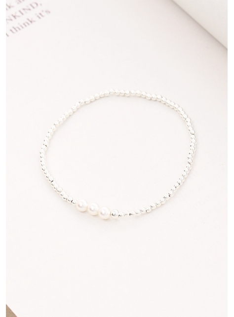 Extravagance classic pearl beads 925 sterling silver bracelet / anklet