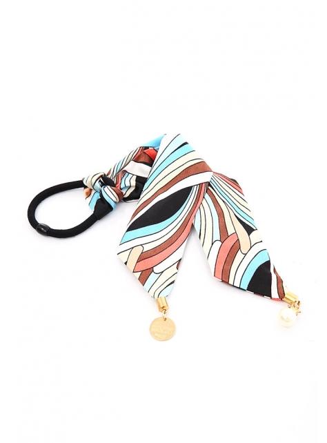 抽象緞面珍珠吊牌絲巾兩用髮束