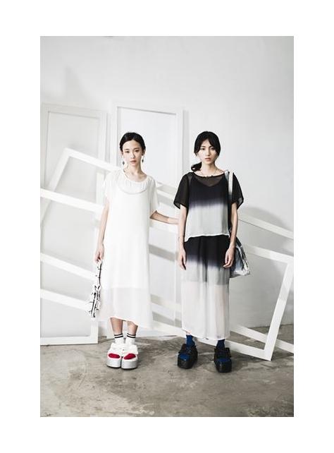黑白漸層寬版褲